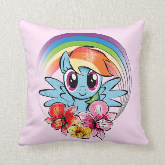 Rainbow Dash | Floral Watercolor Rainbow Throw Pillow
