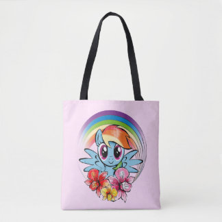 Rainbow Dash | Floral Watercolor Rainbow Tote Bag