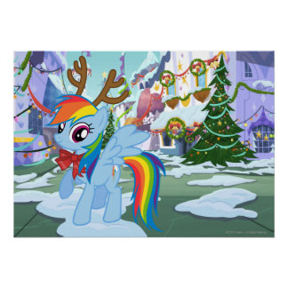 Rainbow Dash Reindeer Poster