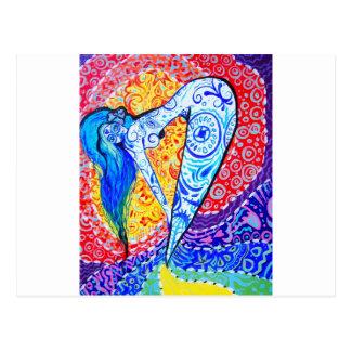 Rainbow Day of the Dead Mermaid Postcard