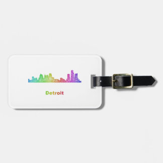 Rainbow Detroit skyline Luggage Tag