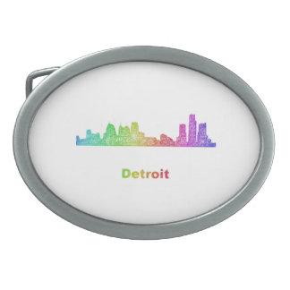 Rainbow Detroit skyline Oval Belt Buckle