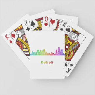 Rainbow Detroit skyline Playing Cards