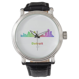 Rainbow Detroit skyline Wrist Watch
