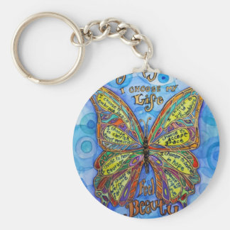 Rainbow Diabetes Butterfly Keychain