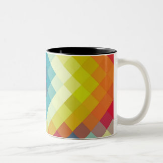 Rainbow Diamond Chevron Pattern Two-Tone Coffee Mug
