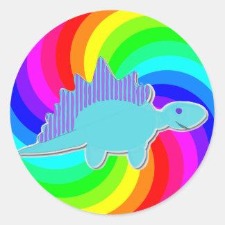 Rainbow Dinosaur Blue Stegosaurus Classic Round Sticker