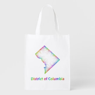 Rainbow District of Columbia map Grocery Bags