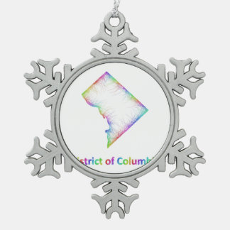 Rainbow District of Columbia map Pewter Snowflake Ornament
