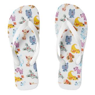 Rainbow dog flip flops