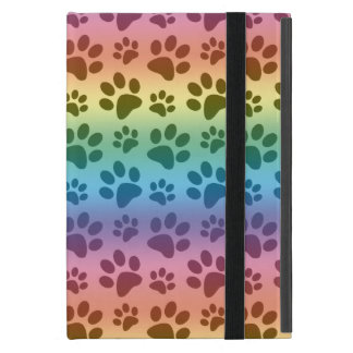 Rainbow dog paw print pattern iPad mini case