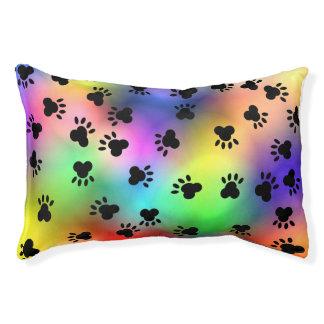Rainbow Dog Paw prints Dog Beg Pet Bed
