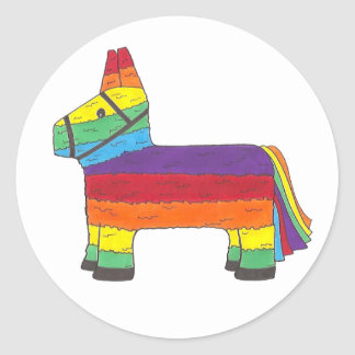 Rainbow Donkey Piñata Birthday Party Fiesta Pride Classic Round Sticker