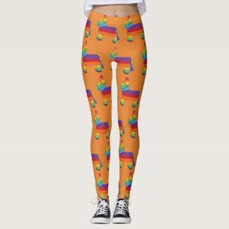 Rainbow Donkey Pinata Birthday Party Fiesta Print Leggings
