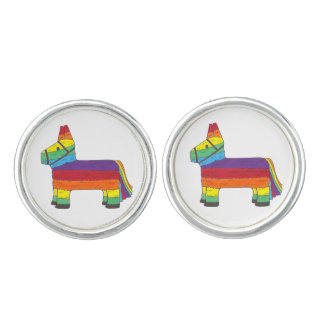 Rainbow Donkey Piñata Cinco de Mayo Pride Fiesta Cuff Links