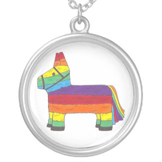 Rainbow Donkey Piñata Cinco de Mayo Pride Fiesta Silver Plated Necklace