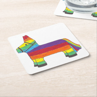 Rainbow Donkey Piñata Cinco de Mayo Pride Fiesta Square Paper Coaster