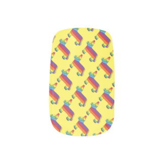 Rainbow Donkey Piñata Fiesta Birthday Party Pride Fingernail Decals