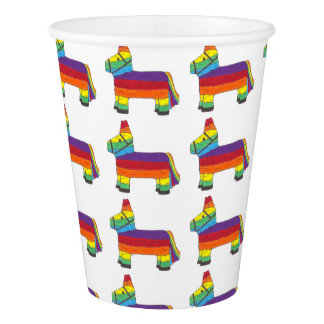 Rainbow Donkey Piñata Fiesta Birthday Party Pride Paper Cup