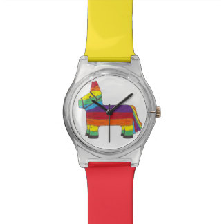 Rainbow Donkey Piñata Fiesta Birthday Party Time Wrist Watch