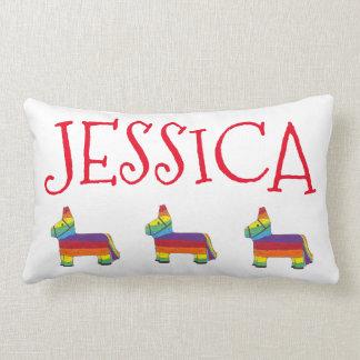Rainbow Donkey Piñata Personalized Pride Fiesta Lumbar Pillow