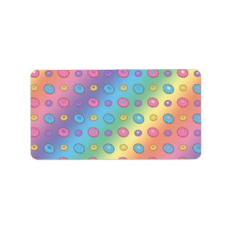 Rainbow donut pattern label