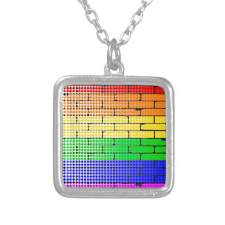 Rainbow Dot Matrix Silver Plated Necklace
