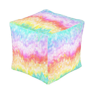 Rainbow Dots Cubed Pouf for Nursery or Bedroom