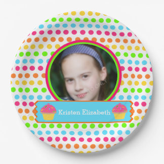 Rainbow Dots Photo Birthday Party 9 Inch Paper Plate