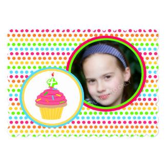 Rainbow Dots Photo Fourth Birthday Party Card