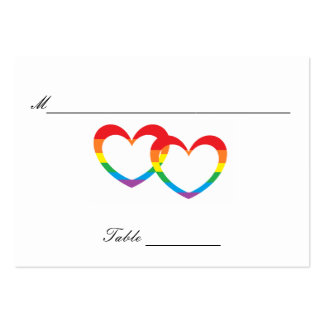 """""""Rainbow Double Hearts"""" Guests' Table Cards Pack Of Chubby Business Cards"""