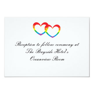 """Rainbow Double Hearts"" Reception Cards"