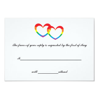 """Rainbow Double Hearts"" RSVP Cards"