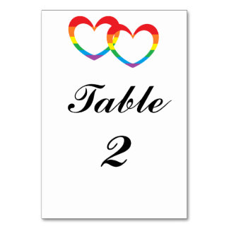 """Rainbow Double Hearts"" Table Number Cards"
