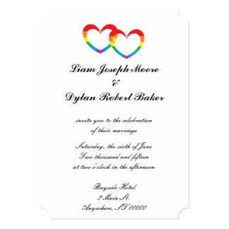 """Rainbow Double Hearts"" Wedding Invitations"
