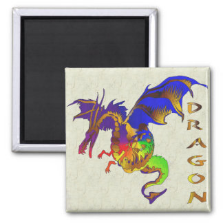Rainbow Dragon Square Magnet