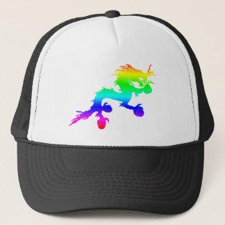 rainbow dragon trucker hat