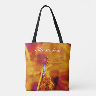 Rainbow Dragonfly  Orange pink background  w/ Name Tote Bag