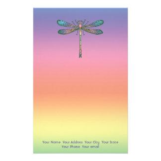Rainbow Dragonfly Stationery Design