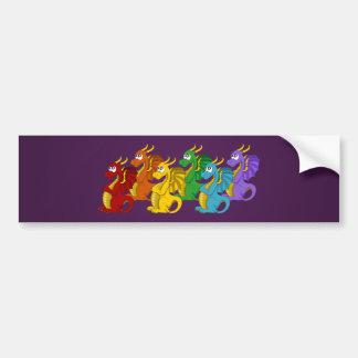 Rainbow dragons cartoon flag bumper sticker