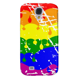 Rainbow Dripping Paint Distressed Galaxy S4 Covers