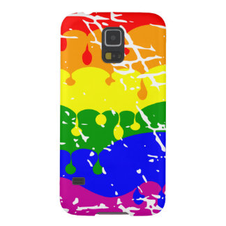 Rainbow Dripping Paint Distressed Galaxy S5 Case