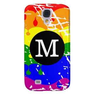 Rainbow Dripping Paint Distressed Monogram Samsung Galaxy S4 Case