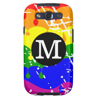 Rainbow Dripping Paint Distressed Monogram Samsung Galaxy S3 Covers