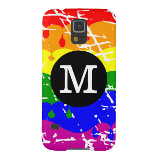 Rainbow Dripping Paint Distressed Monogram Galaxy S5 Case