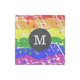 Rainbow Dripping Paint Distressed Monogram Stone Magnets