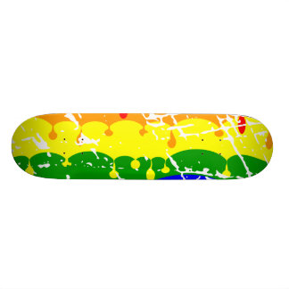 Rainbow Dripping Paint Distressed Skate Board Deck