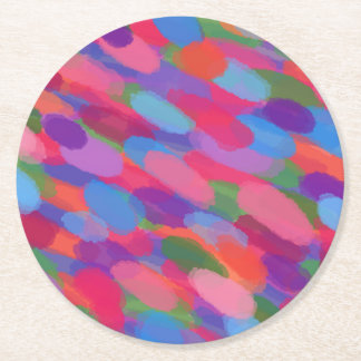 Rainbow Droplets Colorful Abstract Pattern Round Paper Coaster