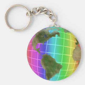 Rainbow Earth Day Globe Basic Round Button Keychain