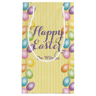 Rainbow Easter Eggs with Family or Business Name Small Gift Bag
